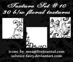 Texture Set 10 - BW Floral by solstice-fairy