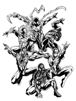 Inks for 5 Spider-Man Versions by jbyrd117