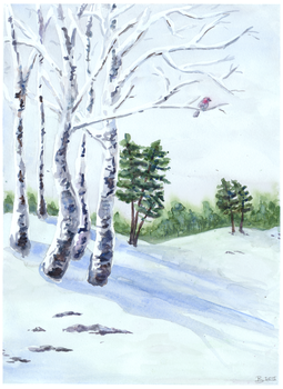 Winter watercolor by Tellaine