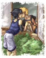 sasunaru - window kiss by askerian
