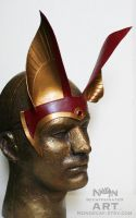 Egyptian Anubis Headdress in red and gold by nondecaf