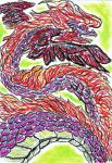 Oil Pastels: Winged Wyrm by kxeron
