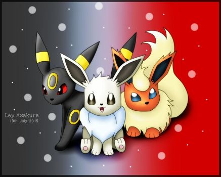 Shiny Eevee and friends [Request] by LeyAsakura