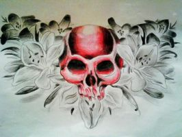 Skull and lily chestpeice by jessicore666