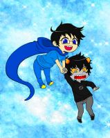 Chibi Karkat x John - Colored by Pheori-Nights