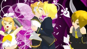 Happy Valentine's Day Love Len, Rin, Oliver + Neru by AskVocaloidMMD