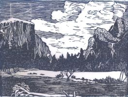 Yosemite Valley Linocut Print by MaggieSly