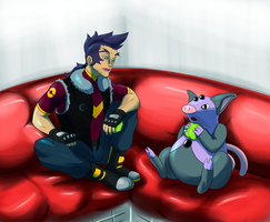 Resting at the Pokemon Center by RoniBro