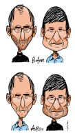 Steve Jobs vs. Tim Cook by paweljonca