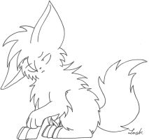 Chibi Wolf Lineart 2 by Vampire-At-Heart