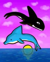 Whale and Dolphin by Katy133