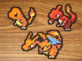 Pokemon Sprite Magnets - Charmander Family by UWorlds