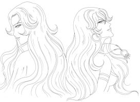 Ophelie et Anthonya lineart by ECVcm