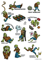 Zombie Stickers (with text) by JemiDove