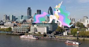Princess Celestia visits London by OtterP