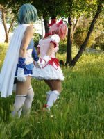Walking - Madoka and Sayaka by AsleepPanther