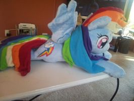 laying rainbow dash plush by Galaxy-Traxs