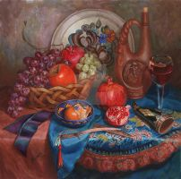 Fruits and wine by Natal-Zhade