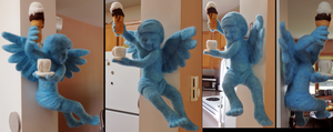 Blue Angel Custom Felted Wall Decor Poses by DancingVulture