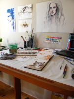 Work space - watercolor by leamatte