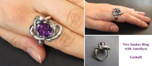 Two Snakes Ring with Amethyst by GeshaR