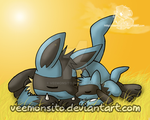 Lucario and Riolu taking a nap by Veemonsito
