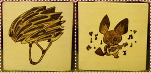 Woodburning - Coworker Coaster - Helmet and Pichu by Stepher17
