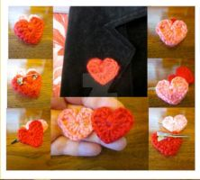Valentines Day Mini Heart Pin or Alligator Clip by Spudsstitches