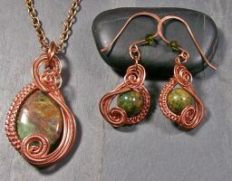 African Green Opal and Copper Swish Set by HeatherJordanJewelry