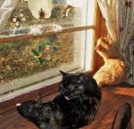 Sophie (RIP) and Cuddles in the Kitty Window by MystMoonstruck