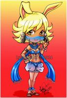 Bunny Djinn Rikku- Chibi Blue Dancer by Lilly-Lamb