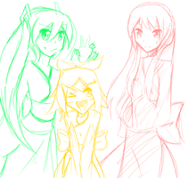 Miku,Rin, and Lukaaaaa by S0UND0FH33L
