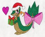 Snivy with a present by crownvetchponylover9