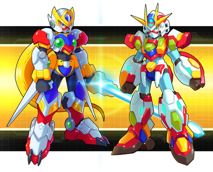 Commission: Zero and X Gundam Armors by ultimatemaverickx
