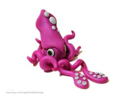 Polymer Clay Squid Pink by ShaidySkyDesign
