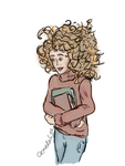 Hermione and a few of her books by CR-MediaGal