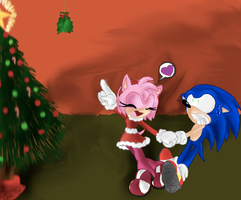 Sonamy mistletoe AGAIN D8 by SonicsChilidog