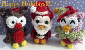 Crochet Holiday Owl Ornaments by WuMeDesign