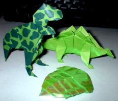 Origami Dinosaur Menagery by Frohickey