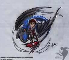 Hiccup & Toothless by G-Aryana007