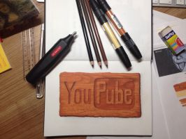 Hyperrealistic Pencil Crayon and Ink YouTube Logo by Goober15