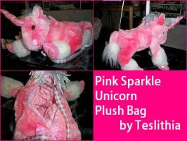 Pink Sparkle Unicorn Plush Bag by Teslithia