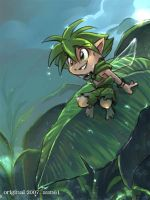 A fairy on a banana leaf by aun61
