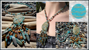 Pebble Beach Stone/Macrame Necklace by BellyLaughBeads