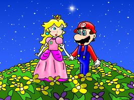 Mario and Peach by ruseau