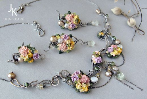 Silver set Summer bouquets necklaces ear cuff stud by JuliaKotreJewelry