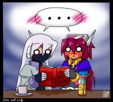Sam and Lady read a book... XD by Lady2011