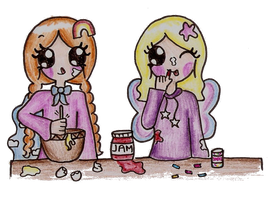 Adventures with Tori and Evanna: Making Cake by Maddie-Pie