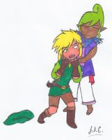 Tetra's way of hugging Link by artisticgamemaster