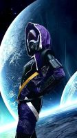Tali Zorah (Mass Effect) cosplay in space by Cinnamon-Cosplay